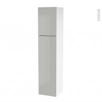 Colonne de salle de bains - 2 portes - IVIA GRIS - Côtés blancs - Version A - L40 x H182 x P40 cm