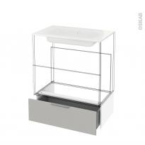 Tiroir sous meuble - Socle n°101 - IVIA GRIS - pour meuble salle de bains - L80 x H26 x P45 cm