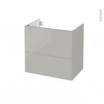 Meuble de salle de bains - Sous vasque - IVIA GRIS - 2 tiroirs - Côtés décors - L60 x H57 x P40 cm
