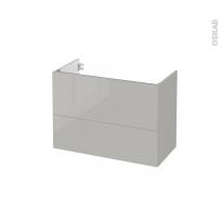 Meuble de salle de bains - Sous vasque - IVIA GRIS - 2 tiroirs - Côtés décors - L80 x H57 x P40 cm
