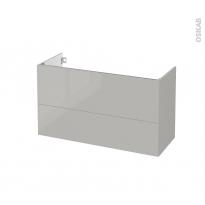 Meuble de salle de bains - Sous vasque - IVIA GRIS - 2 tiroirs - Côtés décors - L100 x H57 x P40 cm