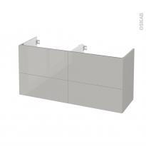 Meuble de salle de bains - Sous vasque double - IVIA GRIS - 4 tiroirs - Côtés décors - L120 x H57 x P40 cm