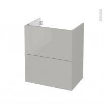 Meuble de salle de bains - Sous vasque - IVIA GRIS - 2 tiroirs - Côtés décors - L60 x H70 x P40 cm
