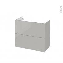 Meuble de salle de bains - Sous vasque - IVIA GRIS - 2 tiroirs - Côtés décors - L80 x H70 x P40 cm