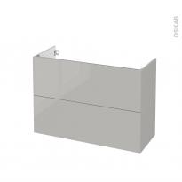 Meuble de salle de bains - Sous vasque - IVIA GRIS - 2 tiroirs - Côtés décors - L100 x H70 x P40 cm