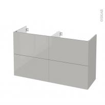 Meuble de salle de bains - Sous vasque double - IVIA GRIS - 4 tiroirs - Côtés décors - L120 x H70 x P40 cm