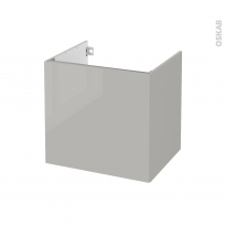 Meuble de salle de bains - Sous vasque - IVIA GRIS - 1 porte - Côtés décors - L60 x H57 x P50 cm