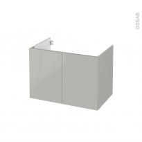Meuble de salle de bains - Sous vasque - IVIA GRIS - 2 portes - Côtés décors - L80 x H57 x P50 cm
