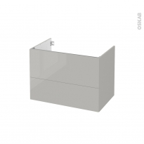 Meuble de salle de bains - Sous vasque - IVIA GRIS - 2 tiroirs - Côtés décors - L80 x H57 x P50 cm