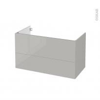 Meuble de salle de bains - Sous vasque - IVIA GRIS - 2 tiroirs - Côtés décors - L100 x H57 x P50 cm