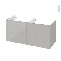 Meuble de salle de bains - Sous vasque double - IVIA GRIS - 4 tiroirs - Côtés décors - L120 x H57 x P50 cm