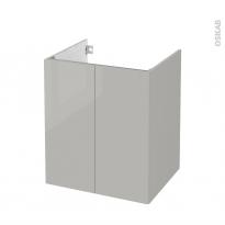 Meuble de salle de bains - Sous vasque - IVIA GRIS - 2 portes - Côtés décors - L60 x H70 x P50 cm