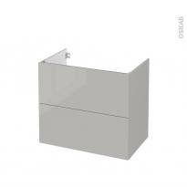 Meuble de salle de bains - Sous vasque - IVIA GRIS - 2 tiroirs - Côtés décors - L80 x H70 x P50 cm
