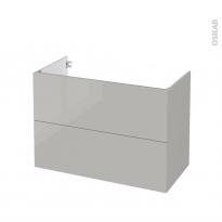 Meuble de salle de bains - Sous vasque - IVIA GRIS - 2 tiroirs - Côtés décors - L100 x H70 x P50 cm