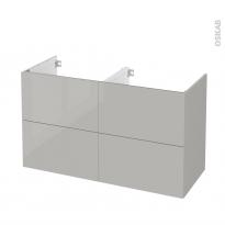 Meuble de salle de bains - Sous vasque double - IVIA GRIS - 4 tiroirs - Côtés décors - L120 x H70 x P50 cm