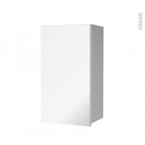 Armoire de salle de bains - Rangement haut - IVIA GRIS - 1 porte miroir - Côtés décors - L40 x H70 x P27 cm