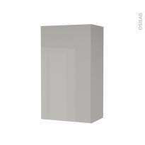 Armoire de salle de bains - Rangement haut - IVIA GRIS - 1 porte - Côtés décors - L40 x H70 x P27 cm