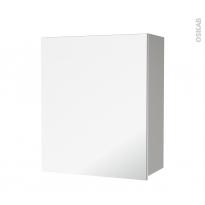 Armoire de salle de bains - Rangement haut - IVIA GRIS - 1 porte miroir - Côtés décors - L60 x H70 x P27 cm