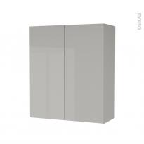 Armoire de salle de bains - Rangement haut - IVIA GRIS - 2 portes - Côtés décors - L60 x H70 x P27 cm