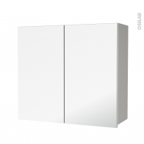 Armoire de salle de bains - Rangement haut - IVIA GRIS - 2 portes miroir - Côtés décors - L80 x H70 x P27 cm