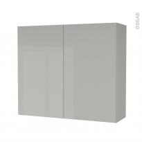Armoire de salle de bains - Rangement haut - IVIA GRIS - 2 portes - Côtés décors - L80 x H70 x P27 cm