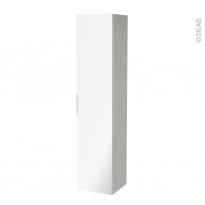 Colonne de salle de bains - 1 porte miroir - IVIA GRIS - Côtés décors - L40 x H182 x P40 cm