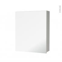 Armoire de toilette - Rangement haut - IVIA GRIS - 1 porte miroir - Côtés décors - L60 x H70 x P17 cm