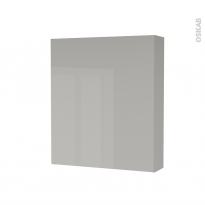Armoire de toilette - Rangement haut - IVIA GRIS - 1 porte - Côtés décors - L60 x H70 x P17 cm
