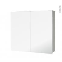 Armoire de toilette - Rangement haut - IVIA GRIS - 2 portes miroir - Côtés décors - L80 x H70 x P17 cm
