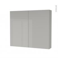 Armoire de toilette - Rangement haut - IVIA GRIS - 2 portes - Côtés décors - L80 x H70 x P17 cm