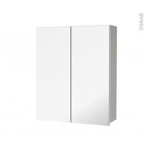 Armoire de toilette - Rangement haut - IVIA GRIS - 2 portes miroir - Côtés décors - L60 x H70 x P17 cm