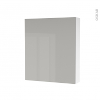 Armoire de toilette - Rangement haut - IVIA GRIS - 1 porte - Côtés blancs - L60 x H70 x P17 cm