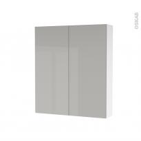 Armoire de toilette - Rangement haut - IVIA GRIS - 2 portes - Côtés blancs - L60 x H70 x P17 cm