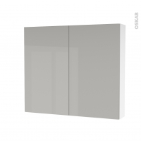 Armoire de toilette - Rangement haut - IVIA GRIS - 2 portes - Côtés blancs - L80 x H70 x P17 cm