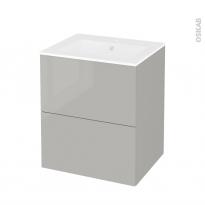 Meuble de salle de bains - Plan vasque NAJA - IVIA GRIS - 2 tiroirs - Côtés décors - L60,5 x H71,5 x P50,5 cm