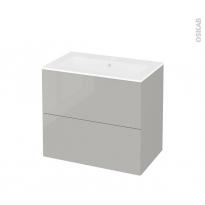 Meuble de salle de bains - Plan vasque NAJA - IVIA GRIS - 2 tiroirs - Côtés décors - L80,5 x H71,5 x P50,5 cm