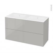 Meuble de salle de bains - Plan double vasque NAJA - IVIA GRIS - 4 tiroirs - Côtés décors - L120,5 x H71,5 x P50,5 cm