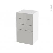 Meuble de salle de bains - Rangement bas - IVIA GRIS - 4 tiroirs - L40 x H70 x P37 cm