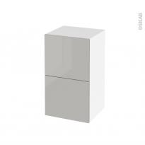 Meuble de salle de bains - Rangement bas - IVIA GRIS - 2 tiroirs 1 tiroir à l'anglaise - L40 x H70 x P37 cm