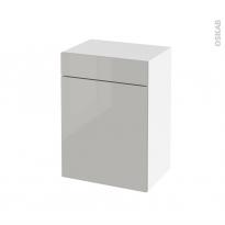 Meuble de salle de bains - Rangement bas - IVIA GRIS - 1 porte 1 tiroir - L50 x H70 x P37 cm