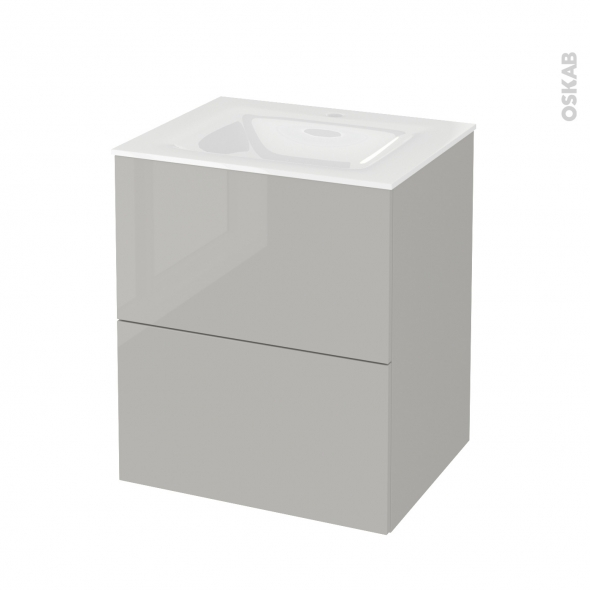 Meuble de salle de bains - Plan vasque VALA - IVIA GRIS - 2 tiroirs - Côtés décors - L60,5 x H71,2 x P50,5 cm