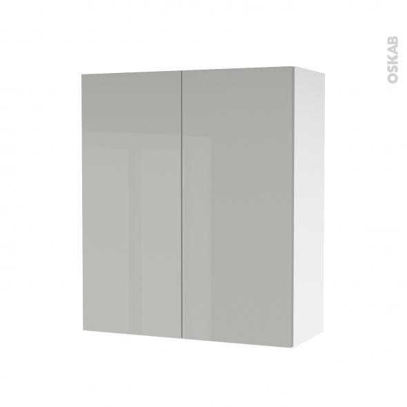 Armoire de salle de bains - Rangement haut - IVIA GRIS - 2 portes - Côtés blancs - L60 x H70 x P27 cm