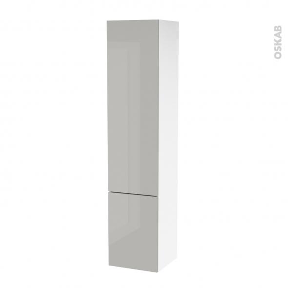 Colonne de salle de bains 2 portes ivia gris c t s blancs version b l40 x h182 x p40 cm oskab - Colonne 2 portes salle de bain ...