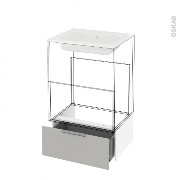 Tiroir sous meuble - Socle n°51 - IVIA GRIS - pour meuble salle de bains - L60 x H26 x P45 cm
