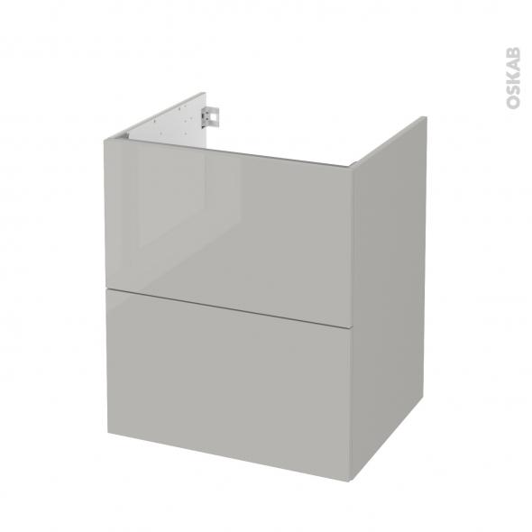Meuble de salle de bains - Sous vasque - IVIA GRIS - 2 tiroirs - Côtés décors - L60 x H70 x P50 cm