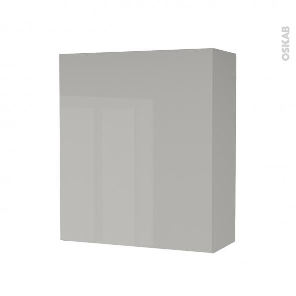 Armoire de salle de bains - Rangement haut - IVIA GRIS - 1 porte - Côtés décors - L60 x H70 x P27 cm