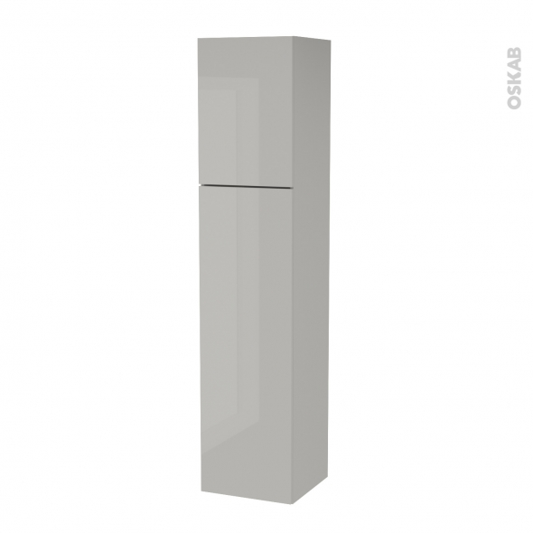 Colonne de salle de bains - 2 portes - IVIA GRIS - Côtés décors - Version A - L40 x H182 x P40 cm