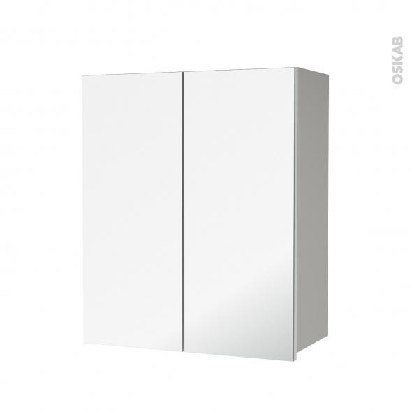 Armoire de salle de bains - Rangement haut - IVIA GRIS - 2 portes miroir - Côtés décors - L60 x H70  xP27 cm