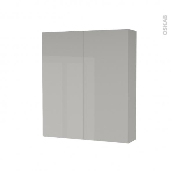 Armoire de toilette - Rangement haut - IVIA GRIS - 2 portes - Côtés décors - L60 x H70 x P17 cm