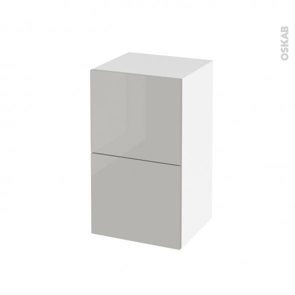 Meuble de salle de bains - Rangement bas - IVIA GRIS - 2 tiroirs - L40 x H70 x P37 cm